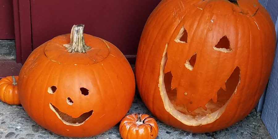 Two carved pumpkins surrounded by smaller decorated pumpkins